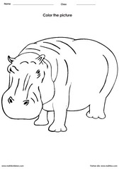 Hippo coloring pages for preschoolers ~ Coloring and Painting Activity Worksheets for Children